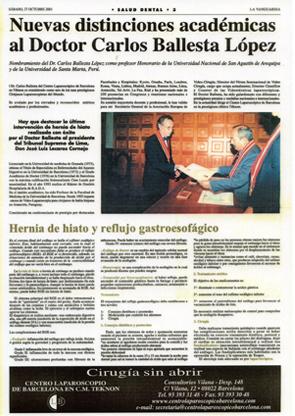 Nuevas distinciones académicas para el Dr. Carlos Ballesta López - La Vanguardia