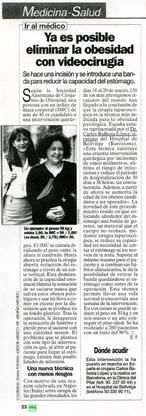 Ya es posible eliminar la obesidad con videocirugía - Revista Mía (1999)