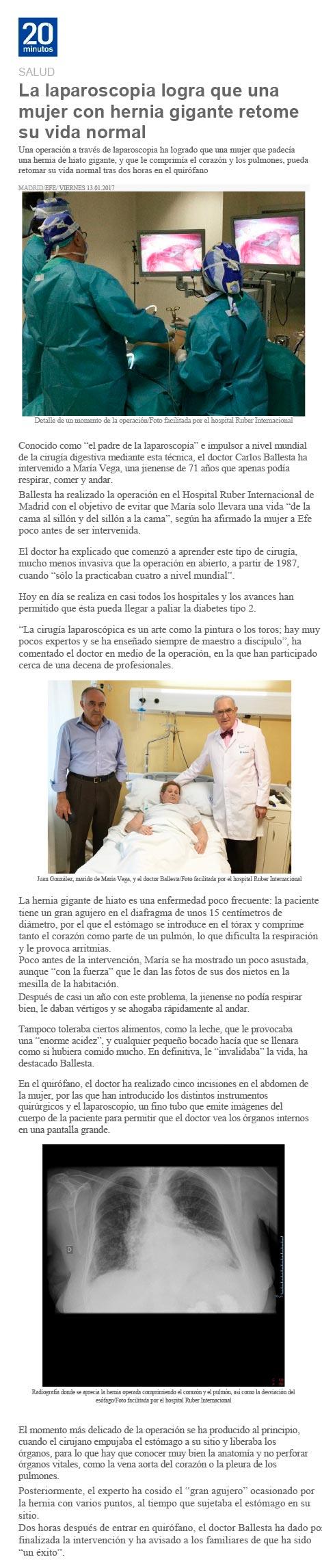 cirugía laparoscopia hernia gigante