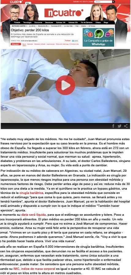 Objetivo perder 200 kilos, el hombre más obeso de España